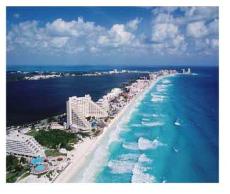 aerial view of a beach in Cancun, Mexic