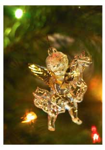 Christmas tree ornament of a golden angel