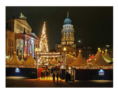 German Christmas market at night with lights
