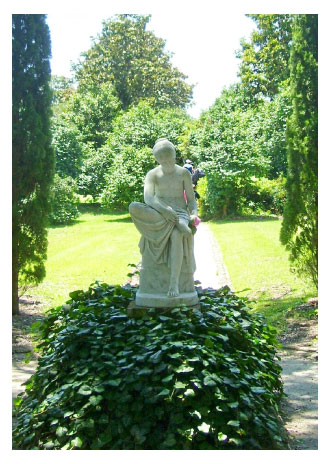a statue of a wood nymph at Middleton Gardens Plantation, Charleston, S