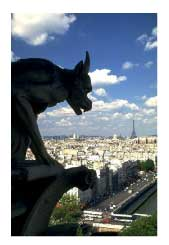 gargoyle on a building overlooking Paris, France