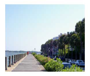 the boardwalk along the Cooper River in Charleston, SC