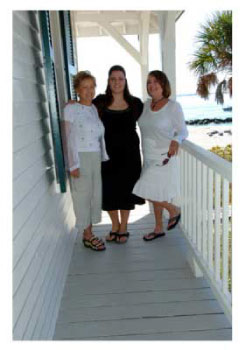 3 generations of women on the porch during a vacation