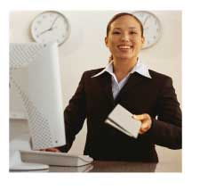 airline ticket agent at ticket counte