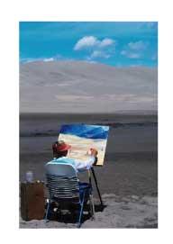 person paintng a landscape