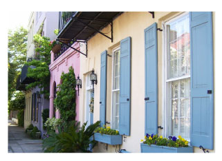 Rainbow Row, each house painted a different color, in Charleston, SC