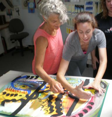 Collaborative painting session