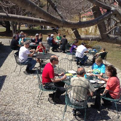 Eating outside on an early spring day.